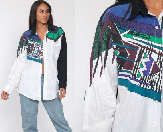 Southwest Shirt 90s WRANGLER Shirt Button Up Southwestern Geometric Print White Collared Shirt 1990s Vintage Retro Long Sleeve Medium Large