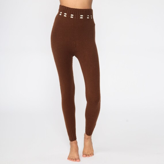 70s Knit Pants Brown Knit Leggings High Waisted P… - image 3