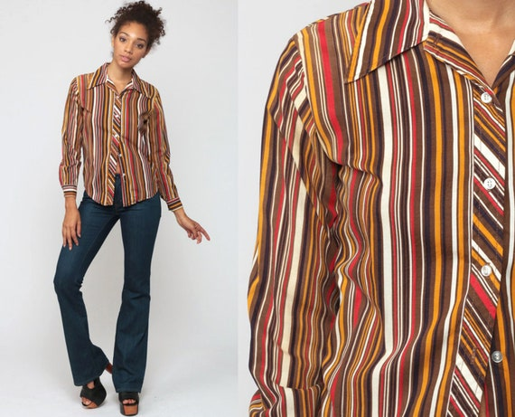 Striped Blouse 70s Boho Shirt Disco Top Hippie Brown Shirt 1970s Vintage Bohemian Button Up Long Sleeve Blouse Red Small