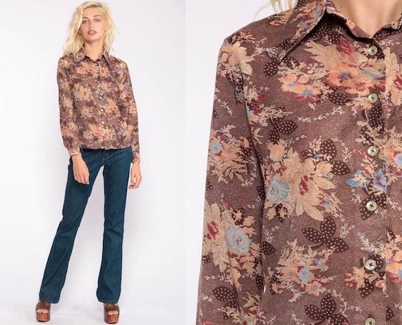 70s Floral Shirt Boho Shirt Disco Shirt Brown Button Up Flower Print Bohemian Blouse 1970s Hippie Vintage Hipster Long Sleeve Small