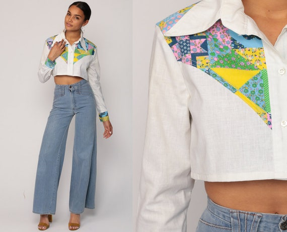 Western Shirt 70s Blouse Crop Top PATCHWORK FLORAL Print Hippy Boho Cowboy Button Up Top 1970s Vintage Hipster Long Sleeve  Small Medium
