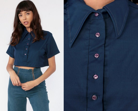 Navy Crop Top Polo Shirt 70s Shirt Plain High Collar Button Up Blouse Dark Blue 1970s Cropped Shirt Short Sleeve Retro Vintage Small