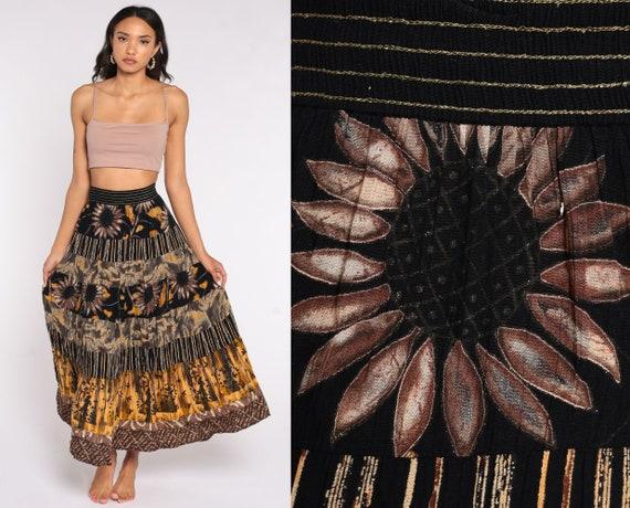 Floral Maxi Skirt 90s Black Summer Skirt Boho Tiered Sunflower Print HIGH WAISTED 1990s Long Vintage Hippie Festival Yellow Medium Large