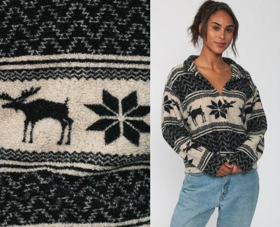 Fleece Moose Shirt -- 90s Animal Print Shirt Snowflake Nordic Shirt Button Up Shirt 1990s Boho Top Hiking Long Sleeve Large
