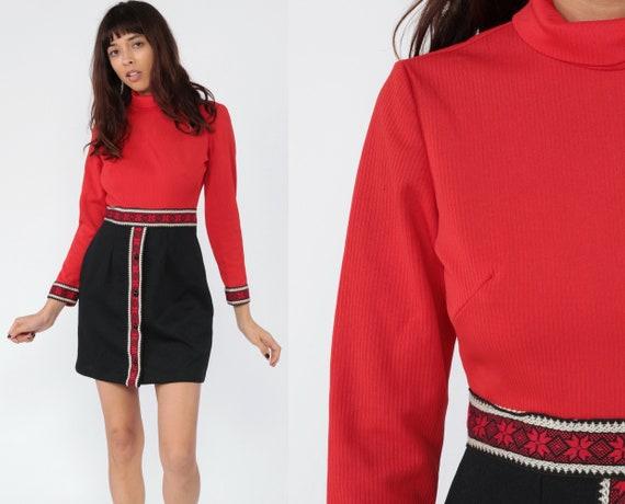 60s Mod Dress Mod Mini RIBBED High Waisted Vintage 70s Turtleneck Red Black High Neck Long Sleeve 1970s Twiggy Gogo Small