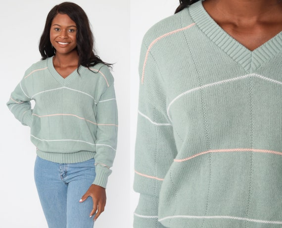 Moss Green Sweater 80s Striped Sweater Acrylic Sweater Knit V Neck Sweater 80s Slouch Sweater Pullover 1980s Jumper Vintage Large xl l