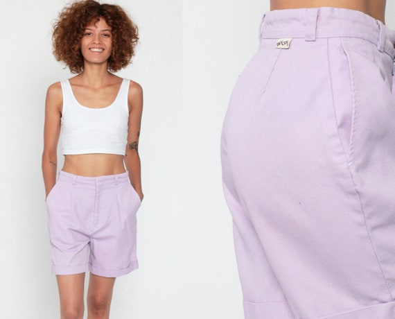 Lavender Trouser Shorts 80s Pleated Mom Shorts High Waisted Dee Cee Cotton Purple Cuffed 1980s Vintage Pastel Summer Bottoms Small 26