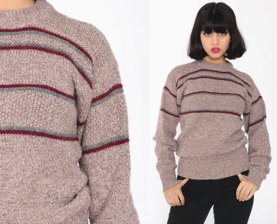 Wool Blend Sweater Purple Striped Sweater 80s Sweater Knit Slouchy Stripes Pullover Jumper Grunge 1980s Vintage Retro Extra Large XL