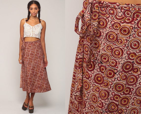 Wrap Skirt 90s Hippie Skirt Batik Midi Boho CIRCLE PRINT 1990s Cotton Bohemian High Waist Vintage Ethnic Red Geometric Extra Large xl xxl