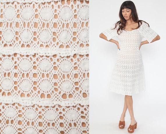 White Crochet Dress 70s Midi Boho Tunic LACE Hippie Sheer BOHEMIAN Wedding Dress 1970s Cutwork Open Weave Vintage Shift Small Medium