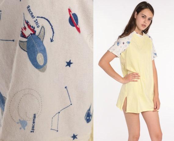 Outer Space Pajama Dress Rocket Ship Nightgown Celestial Galaxy Nightie 80s Graphic Retro Tshirt Mini Yellow Small