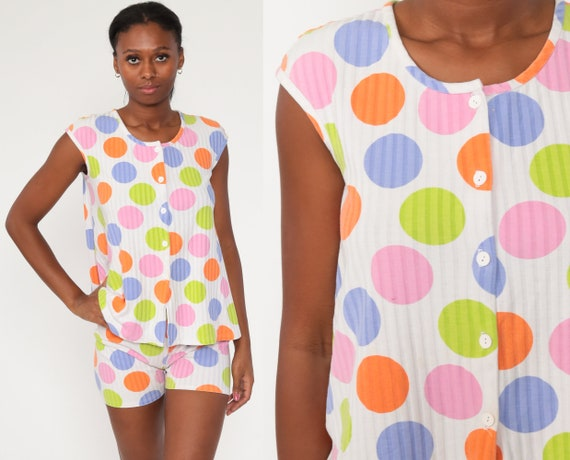 80s Two Piece Outfit Polka Dot Romper Set 80s SHORTS + TOP Vacation Playsuit Blouse 1980s Rainbow Shirt Button Up Summer Small
