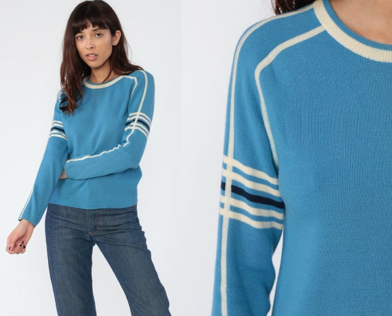 Wool Ski Sweater Blue Striped Sweater 80s Knit Blue Fitted 1980s Vintage Ski Winter Long Sleeve Jumper Raglan Sleeve Retro Athletic Small