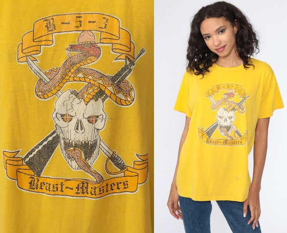 Beast Masters Shirt Skull Tshirt 90s Snake Shirt Distressed Knife Graphic Shirt Slogan Screen Print Tee Vintage Yellow Medium Large