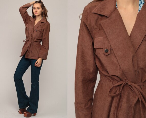 70s Jacket Wrap Jacket BELTED 1970s Brown Jacket Boho Hippie Jacket Vintage Bohemian Large