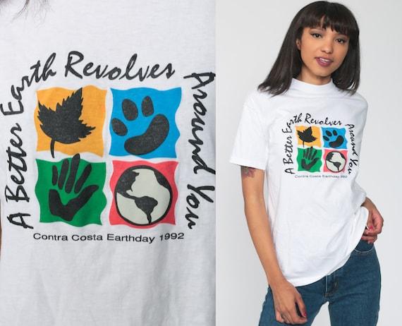 Earth Day Shirt 1992 Tshirt Environmentalist Shirt Contra Costa Shirt Graphic T Shirt 90s Single Stitch 1990s Vintage Retro Tee White Small