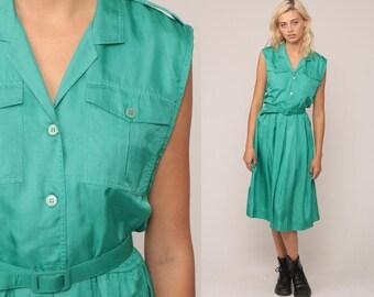 70 s Midi robe robe cintrée haut chemisier Button Up vert Secrétaire ceinturée Slouch Boho des années 1970 Preppy sans manches Vintage grand