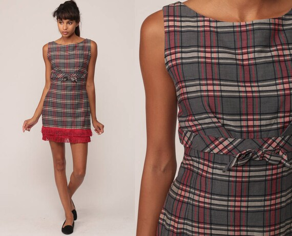 60s Mini Dress Mod Grey Red Plaid Print FRINGE TRIM Checkered Cocktail Party 1960s Sheath Vintage Sleeveless Hourglass Empire Extra Small xs