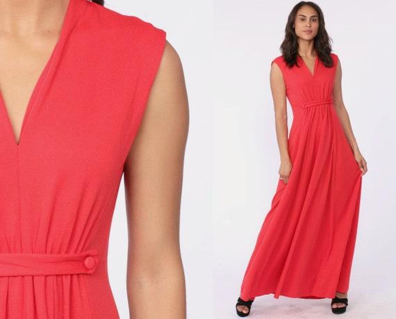 Long Red Dress GRECIAN Gown Maxi 70s Boho Deep V Neck Party 1970s Empire Waist Vintage Sleeveless Bohemian Small Medium