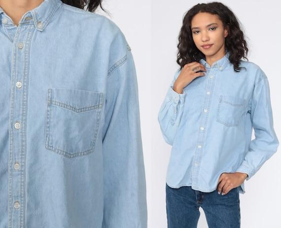 Blue Denim Shirt 90s Grunge Shirt Jean Shirt Button Up Top Vintage 1990s Long Sleeve Blue Large