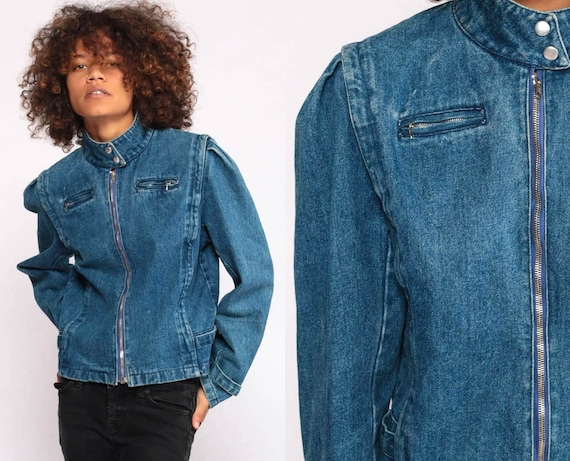 Puff Sleeve Jean Jacket 80s Denim Jacket Biker Zip Up Blue Jean Jacket 1980s Vintage Hipster Extra small xs