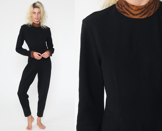 90s Black Jumpsuit TIGER PRINT Trim Tapered Pants Jumpsuit Turtleneck Pantsuit Vintage Long Sleeve Romper Pants High Collar Extra Small xs