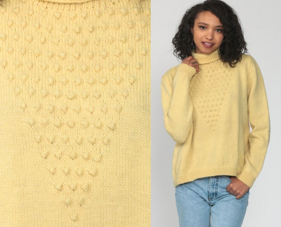 Cream Nubby Sweater 70s Textured Funnel Neck Knit Long Sleeve 1970s Boho Sweater Vintage Retro Bohemian Medium