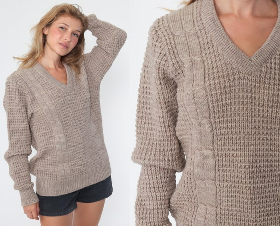 Taupe Wool Sweater Cable Knit Sweater 80s V Neck Slouchy Knit Hipster Boho Pullover Cableknit 1980s Jumper Vintage Small Medium