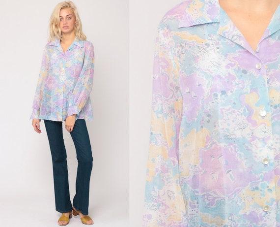 Pastel Shirt SAILBOAT Shirt Novelty Print Blouse 70s Top Hippie Nautical Fish 1970s Boho Vintage Hipster Long Sleeve Button Up Large