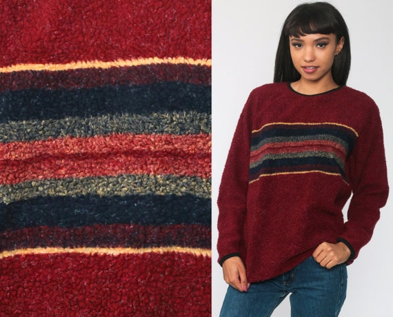 Striped Fleece Sweatshirt 80s Burgundy Sweatshirt FUZZY Sweater Long Sleeve Retro Top Boho 1980s Pullover Medium
