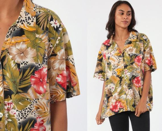 90s Hawaiian Shirt Floral Print Shirt 90s Surfer Top Leopard Print Jungle Blouse 80s Button Up Hawaiian Beach Short Sleeve Extra Large xl