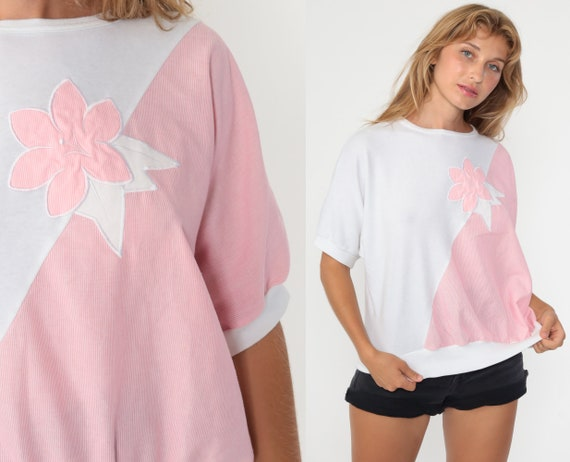 Pink Puff Sleeve Blouse FLORAL EMBROIDERED Shirt 80s Shirt Vintage Pastel Baby Pink Long Sleeve Blouse Boho 1980s Small S