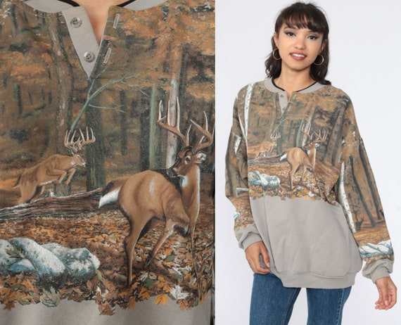 90s Deer Sweatshirt Animal Sweatshirt 80s Jumper Pullover Camo Wildlife Shirt Buck 1990s Taupe Vintage Slouchy Extra Large xl