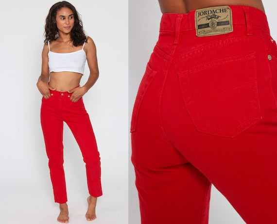 Red Jordache Jeans -- High Waisted Red Skinny Mom Jeans 80s Jeans High Waist Denim Slim 90s Vintage Jeans Size 2 Extra Small XS