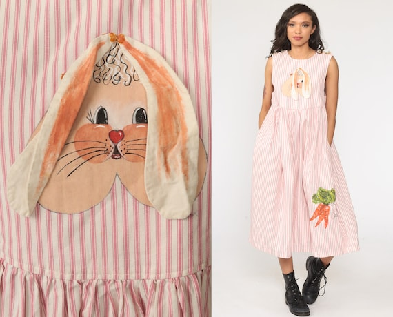 Bunny Jumper Dress Pink Rabbit Dress Striped 90s Midi Hand Painted Vintage Country Kawaii Pinafore Low Armhole Sleeveless Extra Small xs