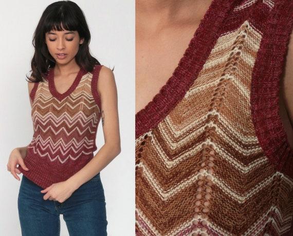 70s Sweater Vest Top Burgundy Striped Shirt Nerd Sweater Boho V Neck Knit Shirt Pointelle Cutout Hippie Shirt Sleeveless Vintage Small