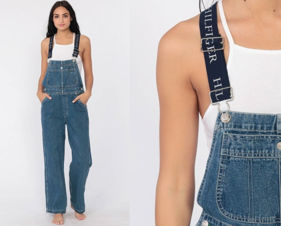 Tommy Overalls Pants TOMMY HILFIGER Women 90s Denim Pants Baggy Long Jean Pants Tapered 1990s Streetwear Vintage Small