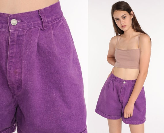 Jordache Jean Shorts 90s Purple Denim Shorts High Waisted CUFFED Mom Shorts 80s Jeans Vintage Shorts Pleated Shorts Small