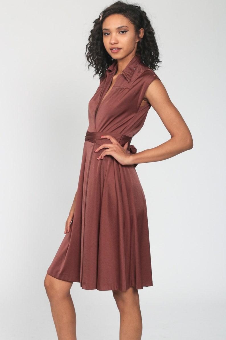 Brown Wrap Dress Disco Party Grecian 70s Boho Midi Deep V Neck  High Waist Vintage Cap Sleeve Bohemian Drape Small