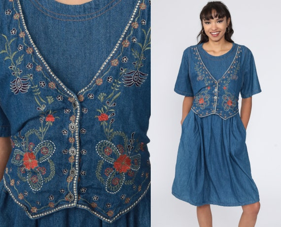 Floral Denim Dress EMBROIDERED 90s Midi Jean Grunge Dress Vintage 1990s Button Up High Waist Granny Short Sleeve Large