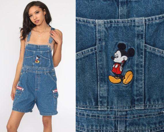 Mickey Mouse Overalls Mickey Unlimited Denim Overall Disney Shortalls Bib Cartoon Romper Shorts 90s Jean Blue Vintage Small Medium