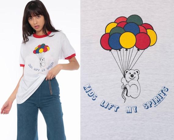 Ringer Tee Shirt KIDS LIFT My SPIRITS Shirt Teacher Shirt Graphic Shirt TShirt 80s Burnout Bear Balloons Kawaii Retro Vintage Medium Large