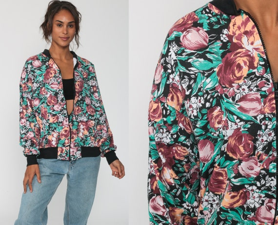 Floral Bomber Jacket 90s Windbreaker Jacket 80s Retro Rose Print Boho Grunge Bohemian Vintage 1980s Retro Zip Up Medium