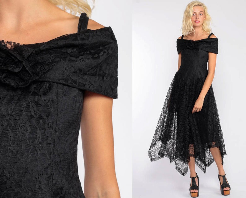 1fc7bea1a4 Gothic Lace Dress 80s Party Dress Midi Black Lace Prom Off