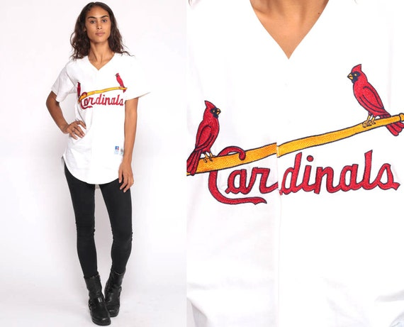 St Louis Cardinals Baseball Jersey 90s Shirt mlb Preppy Button Up down 1990s Vintage Short Sleeve Missouri Sportswear  Graphic Small Medium