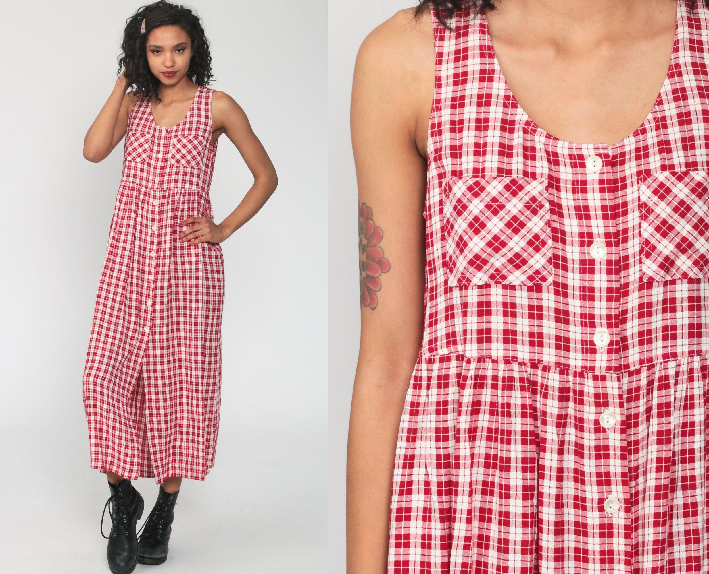 1990s gingham jumper dress size medium vintage market dress Vintage 90s cottagecore dress