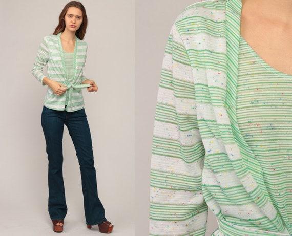 70s Boho Top Striped Shirt ATTACHED JACKET Set Green Cardigan Hippie Blouse METALLIC Flecked Shirt Vintage Bohemian 1970s Medium