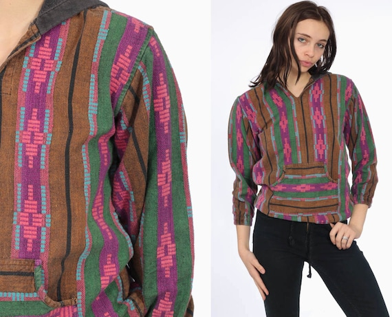 90s Hooded Southwestern Drug Rug -- 1990s Tribal Print Hoodie Long Sleeve Kangaroo Pocket Grunge Striped Long Sleeve Extra Small XS