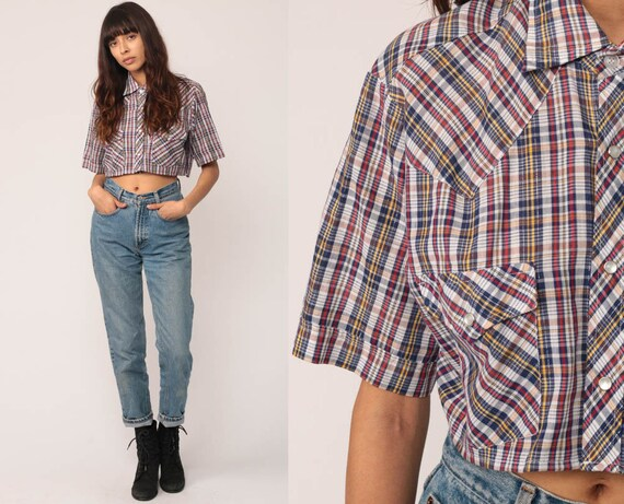 Plaid Shirt Crop Top Western Blouse 80s Button Up Shirt METALLIC Checkered PEARL SNAP 1980s Vintage Short Sleeve Blue White Red Small Medium