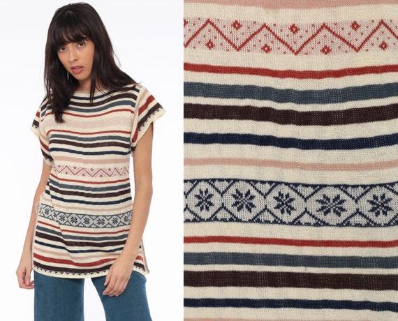 70s Knit Top Fair Isle Striped Shirt Boho Cap Short Sleeve Sweater Top Ethnic Bohemian Retro Tee Vintage Nordic 1970s Medium